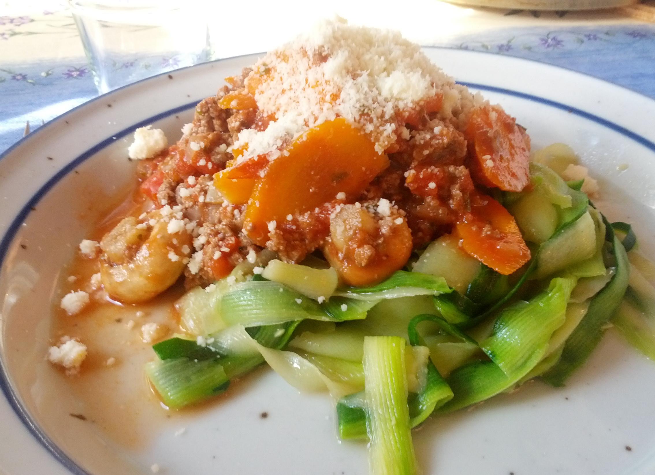 squash pasta med kødsovs