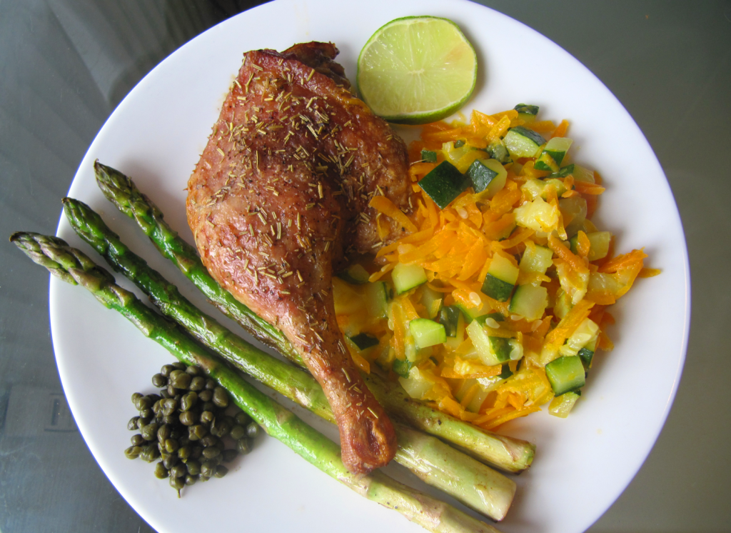 Andelår med asparges og squash