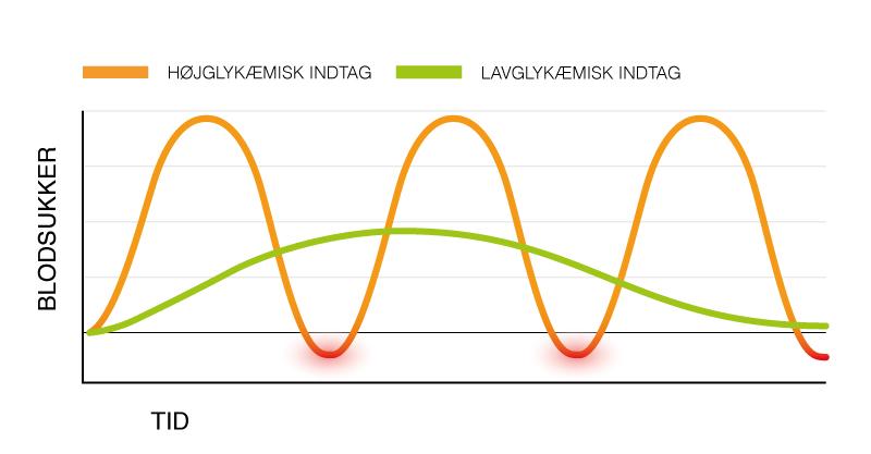 Graf over påvirkning af blodsukkeret på hhv. højglykæmisk og lavglykæmisk kost